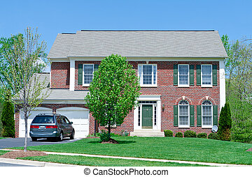 md, gezin, woning, voorstedelijk, enkel, voorkant, thuis, baksteen