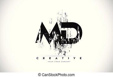 md, grunge, illustration., m, nero, colori, vettore, disegno, spazzola, lettera, logotipo, d