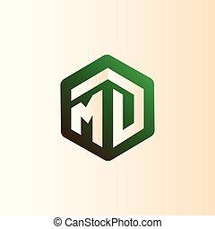 MD Initial letter hexagonal logo vector