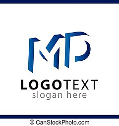 MD initial letter with negative space logo icon vector...