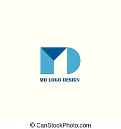MD letter logo design. - blue logo isolated on white...