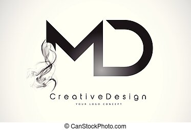 MD Letter Logo Design with Black Smoke. Creative Modern...