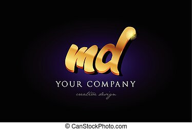 md m d 3d gold golden alphabet letter metal logo icon design...