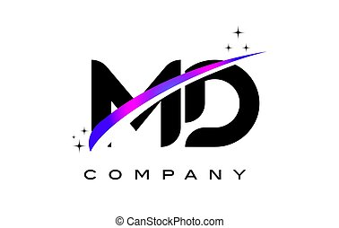 MD M D Black Letter Logo Design with Purple Magenta Swoosh...