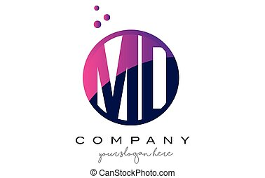 MD M D Circle Letter Logo Design with Purple Dots Bubbles -...