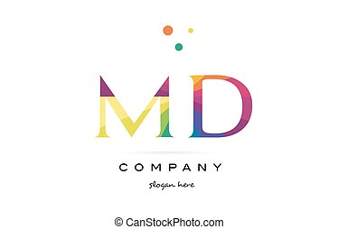 md m d creative rainbow colors alphabet letter logo icon -...