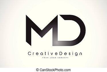 MD M D Letter Logo Design. Creative Icon Modern Letters...
