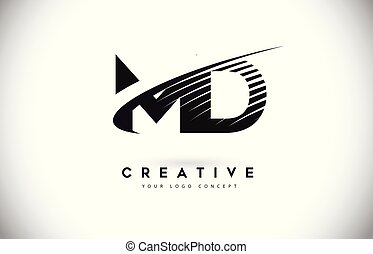 MD M D Letter Logo Design with Swoosh and Black Lines....