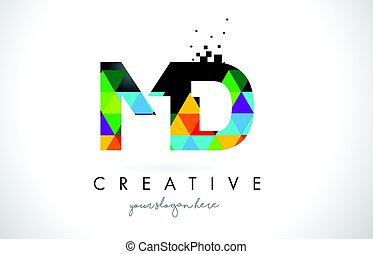 MD M D Letter Logo with Colorful Triangles Texture Design...