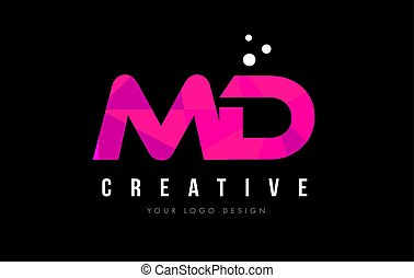 MD M D Letter Logo with Purple Low Poly Pink Triangles...