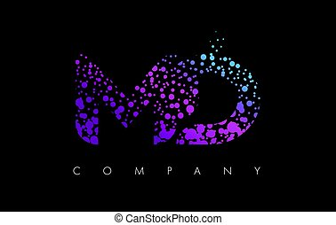 MD M D Letter Logo with Purple Particles and Bubble Dots -...