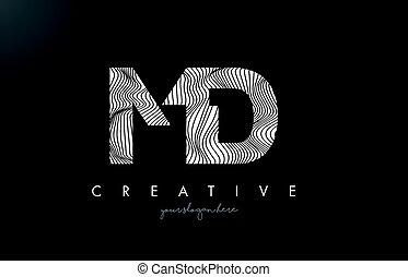 MD M D Letter Logo with Zebra Lines Texture Design Vector. -...