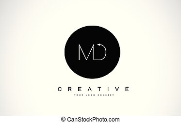 MD M D Logo Design with Black and White Creative Text Letter...