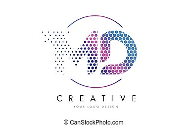 MD M D Pink Magenta Dotted Bubble Letter Logo Design Vector...