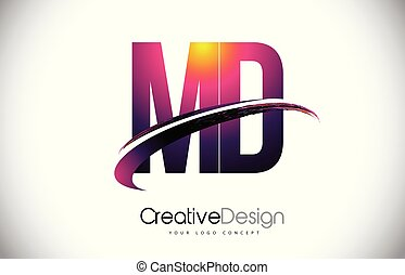 MD M D Purple Letter Logo with Swoosh Design. Creative...