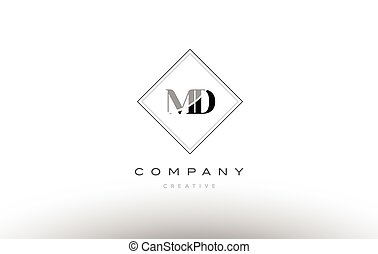 md m d retro vintage black white alphabet letter logo - md m...