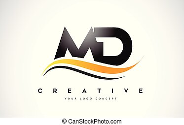 MD M D Swoosh Letter Logo Design with Modern Yellow Swoosh...
