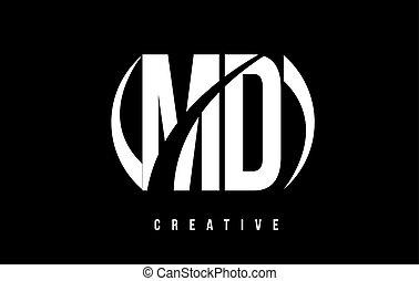 MD M D White Letter Logo Design with Black Background. - MD...