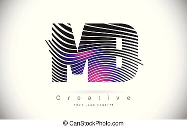 MD M D Zebra Texture Letter Logo Design With Creative Lines...