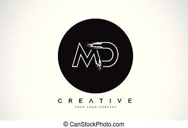 MD Modern Leter Logo Design with Black and White Monogram....