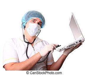 M.D. with notebook