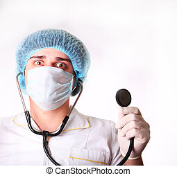 M.D. with stethoscope