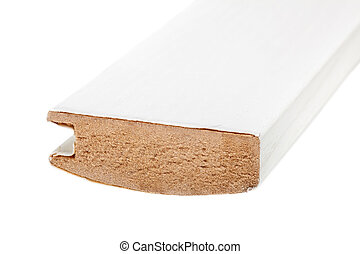 white long molding made of mdf, against white background
