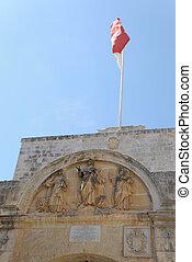 Mdina Entrance - The entrance gate to Mdina on Malta, with...