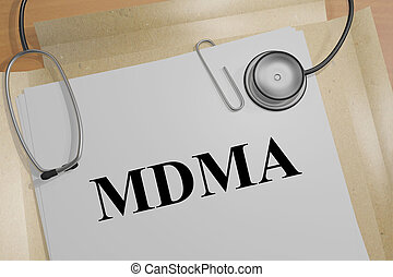 MDMA - narcotic concept - 3D illustration of 'MDMA' title on...