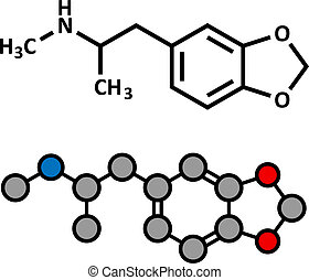 MDMA (XTC, E, ecstasy) party drug molecule. Full chemical...