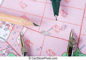 meřidlo, mapa, topographic, okres, poznamenat, nástroj
