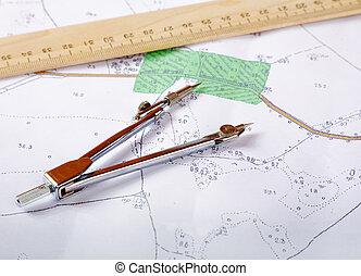 meřidlo, mapa, topographic, okres, pravítko, nástroj