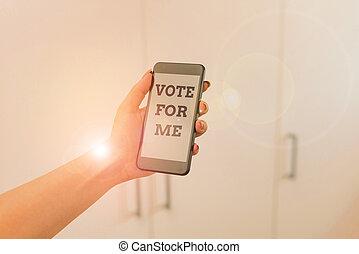 me., 女, 使うこと, 技術的である, 写真, メモ, ビジネス, 投票, smartphone, 装置, 執筆, upcoming, home., showcasing, 政府, campaining, ポジション, 中, 選挙, 提示