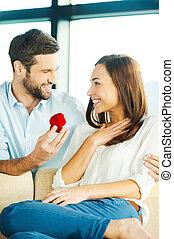 me?, 約會, 做, 年輕人, 漂亮, 提議, 結婚, 意志, 他的, 當時, 你, 女朋友, 戒指, 給