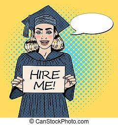 me, affittare, donna, arte, segno., giovane, pop, laureato, vettore, illustrazione, presa a terra