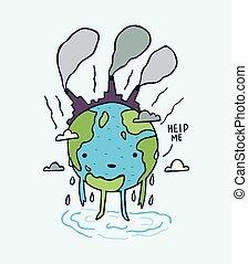 me, aide, triste, message., pollué, earth.
