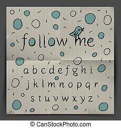 me, alfabeto, scrittura, -, seguire
