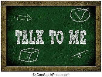 me, cadre, bois, tableau vert, chalk., message, parler, manuscrit