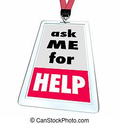 me, client, aide, service, soutien, illustration, demander, personnel, écusson, 3d