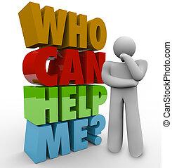 me, client, aide, soutien, avoir besoin, penseur, boîte, homme