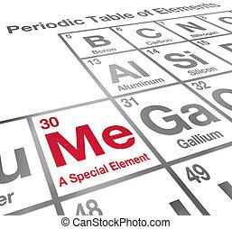 me, differente, fiducia, elemento, tavola periodica, unico, speciale