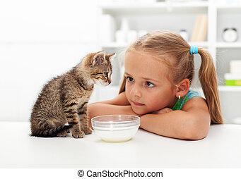 me, et, mon, chat, -, petite fille, et, elle, chaton
