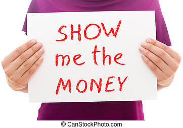 me, foglio, mostra, testo, carta, tenere soldi, ragazza, bianco