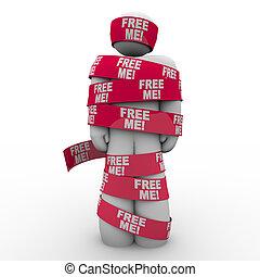 me, gratuite, bande, mots, emballé, rouges, homme