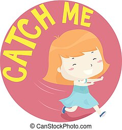 me, illustrazione, presa, ragazza, bambino primi passi, capretto