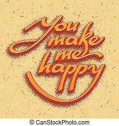 me, iscrizione, happy., fare, illustrazione, vettore, lei