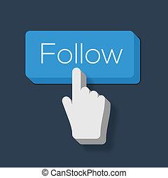 me, modellato, bottone, mano, cursore, seguire