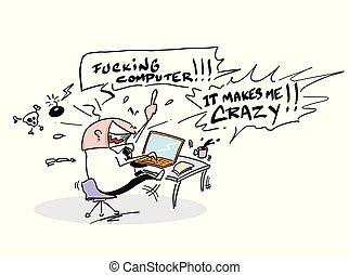 me, mon, ordinateur portable, marques, fou