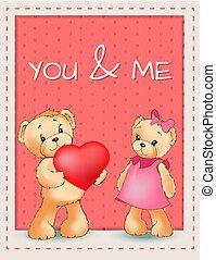 me, ours, affiche, valentines, deux, vous, jour, heureux