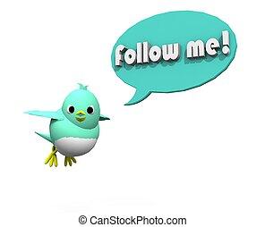 me, seguire, cinguettio, uccello, 3d